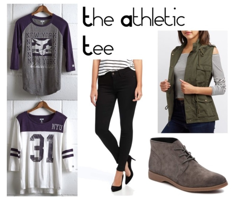 College shirt outfits: How to style a college logo t-shirt or baseball tee with black skinny jeans, a moto vest, and suede booties