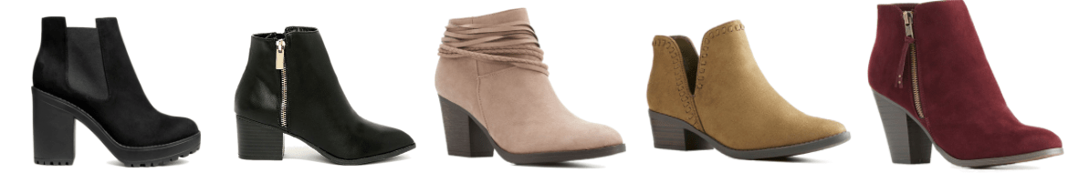 5 pairs of classic booties.