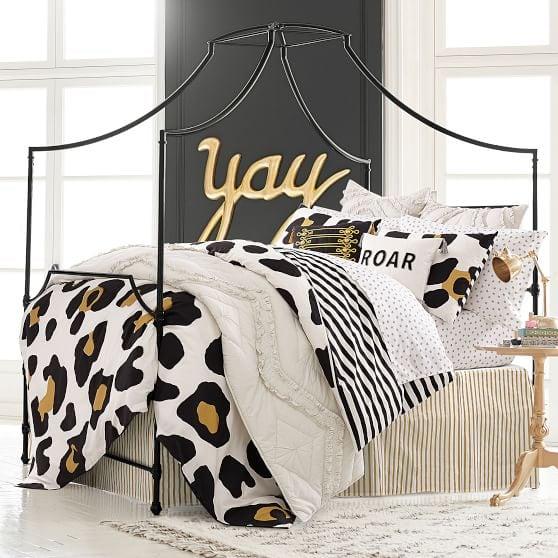 Leopard print dorm room