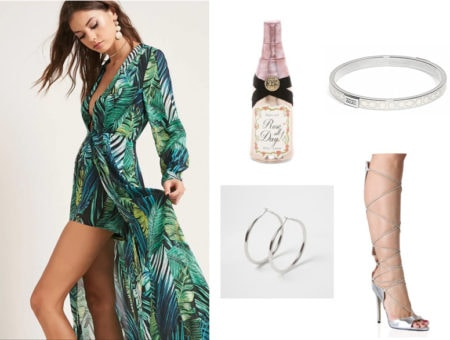 Outfit inspired by the bar scene in the movie The Graduate: Palm print maxi dress with low neck, silver hoop earrings, Rose' all day clutch bag, lace-up silver sandals, white and silver enamel bangle
