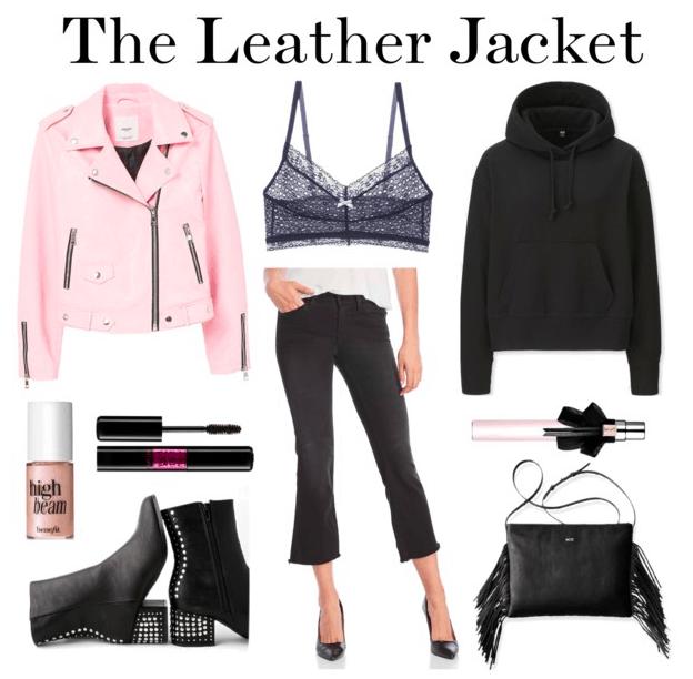 Pink leather jacket, lace bralette, black sweatshirt, cropped jeans, fragrance, fringe bag, studded boots, mascara, highlighter