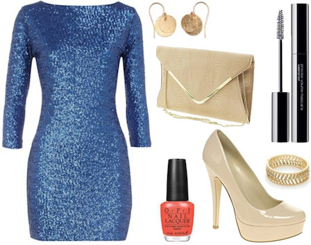 Outfit inspired by Mindy Kaling from The Mindy Project's blue sequin dress