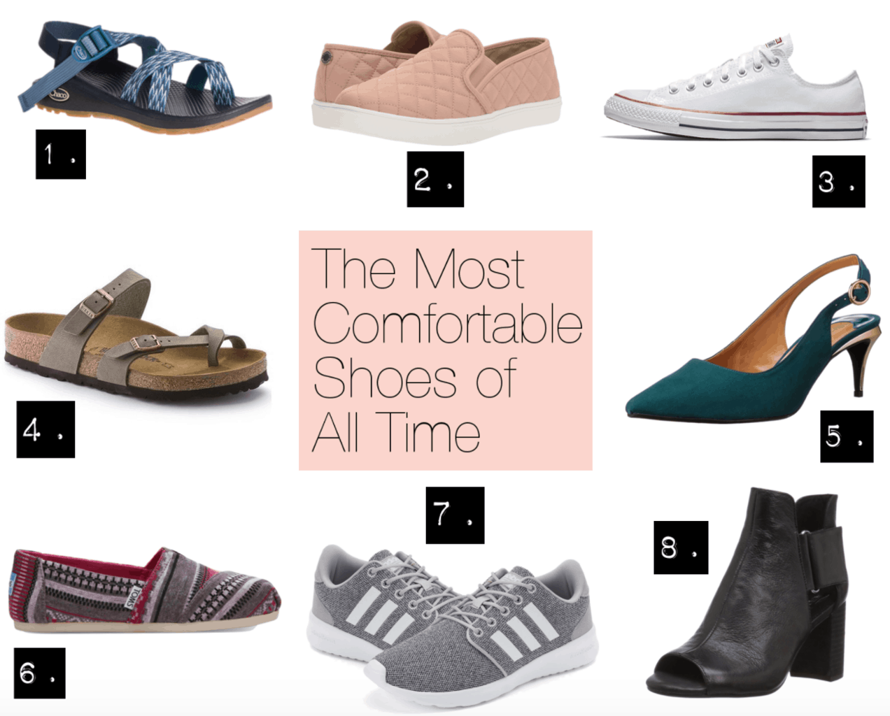We tried them: These are the most comfortable shoes for women of all time, including Chacos sandals, Birkenstocks, Steve Madden quilted slip-ons, Converse sneakers, slingback heels, Toms slip ons