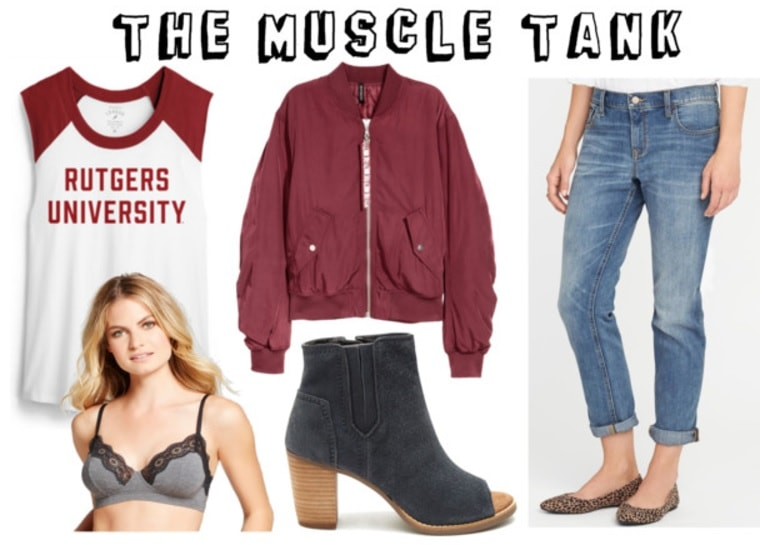 College shirt outfits: How to style a college muscle tank with a bomber jacket, peep toe ankle booties, mom jeans, and a bralette