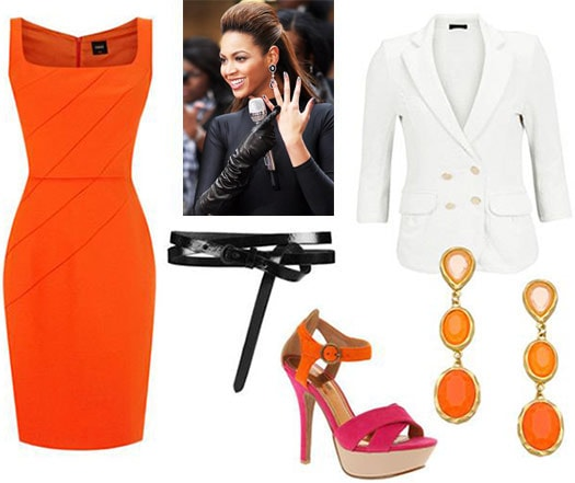 Fashion inspired by The Nanny - neon orange dress and white blazer