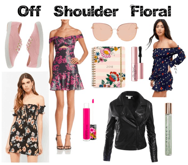 Floral dresses, pink keds, pink shades, leather jacket, lip gloss, fragrance, mascara, floral planner