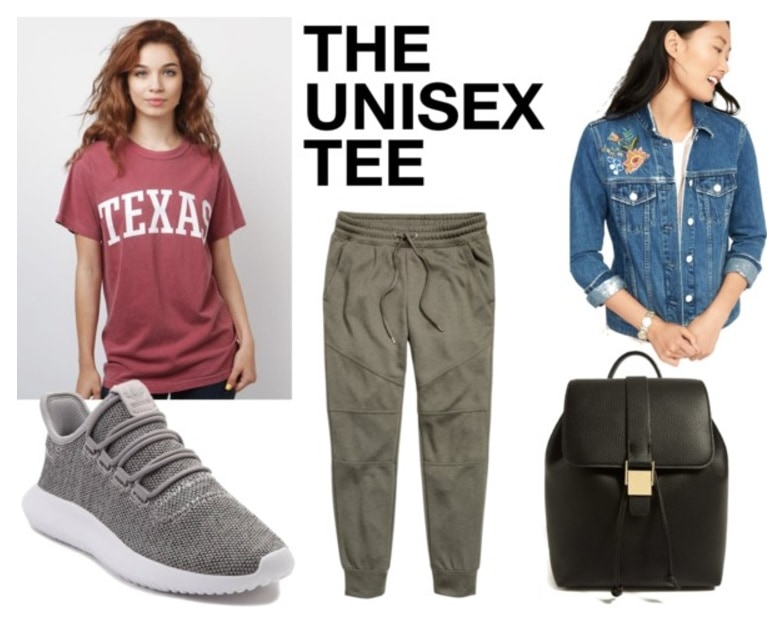 College shirt outfits: How to style a college comfort colors t-shirt with green jogger pants, an embroidered denim jacket, a sleek black backpack, and gray sneakers