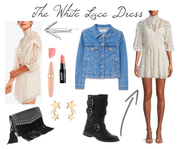 White lace dress, denim jacket, leather boots, fringe bag, mascara, pale pink lipstick, star drop earrings