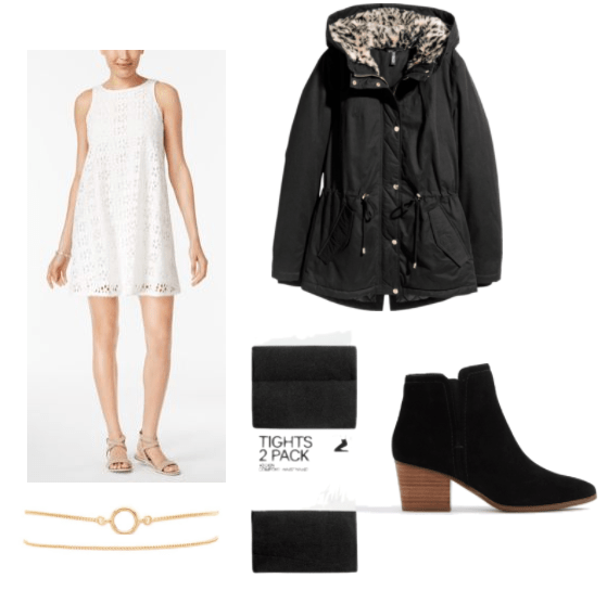 Outfit inspired by Ed Sheeran's Thinking Out Loud with white crochet dress, dainty gold bracelets, black parka, black tights, and simple black ankle boots