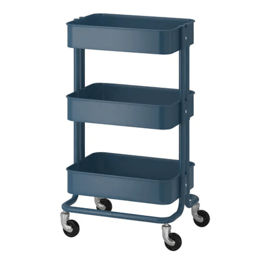 Navy three-tier functional rolling cart from IKEA.