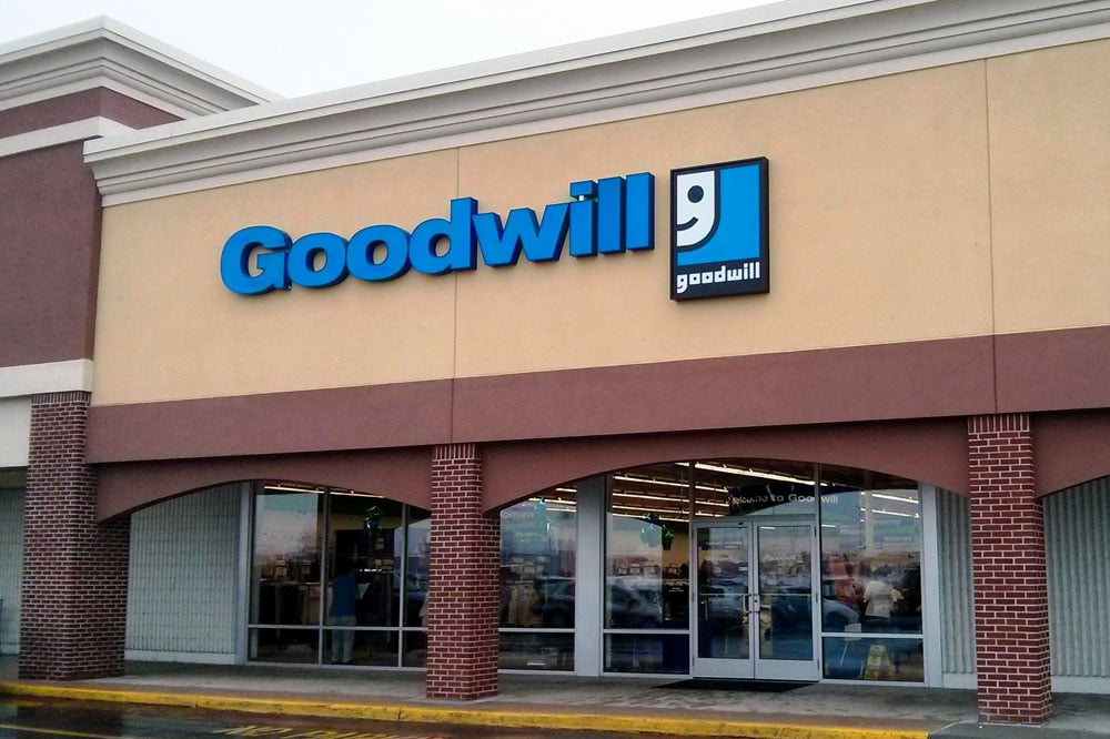 Photo of the front of a Goodwill store.