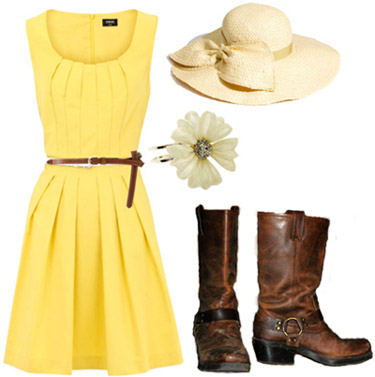 How to wear a thrifted pair of boots with a yellow dress