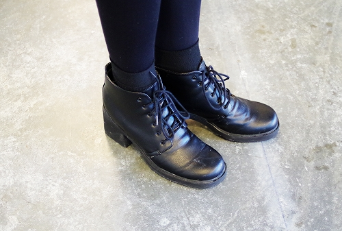Thrifted black leather boots