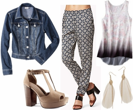 Thursday outfit printed pants, graphic tank, denim jacket