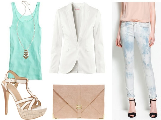 How to wear tie dye jeans with a mint tank, white blazer, beige clutch and strappy sandals