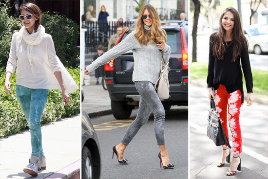Tie Dye Jeans trend seen on Jessica Alba, Elle Macpherson and a street style fashionista
