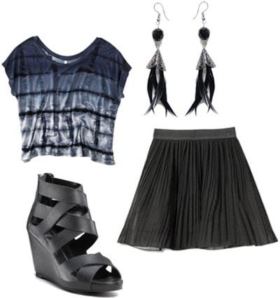 Outfit idea: Tie dye shirt, black circle skirt, wedges