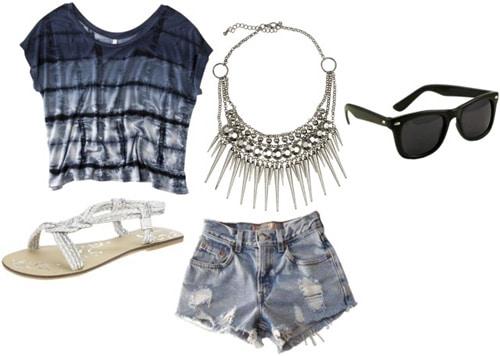 Outfit idea: Tie dye shirt, denim cutoffs, statement necklace