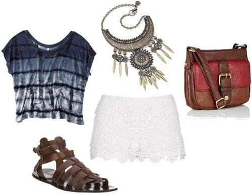 Outfit idea: Tie dye shirt, white lace shorts, cross-body bag