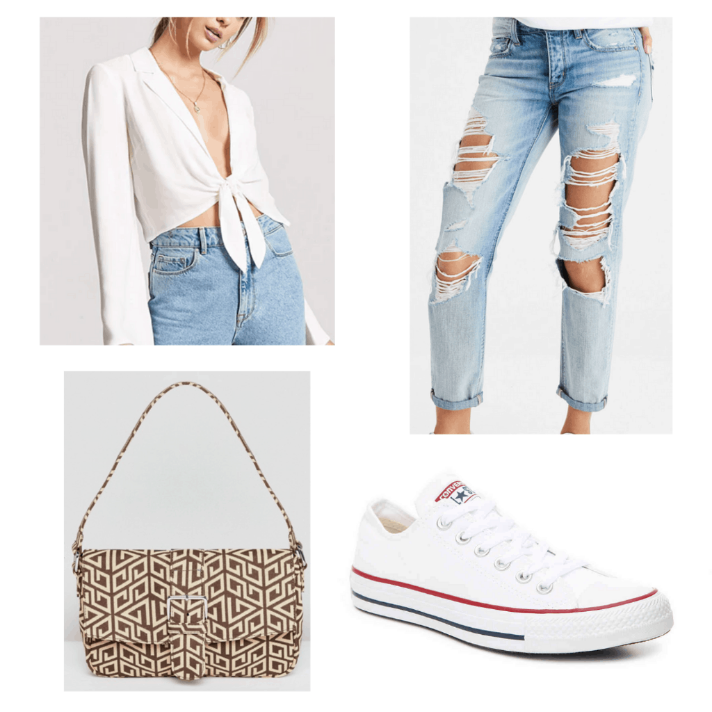 White tie-front blouse with light distressed mom jeans, white Converse sneakers, and shoulder bag