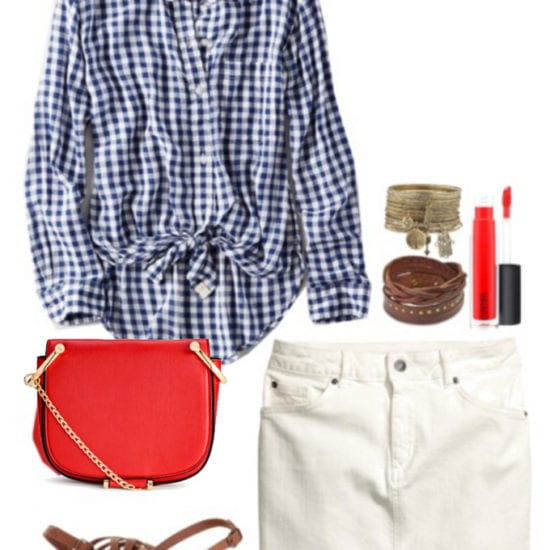 Tie front top: Evening outfit with a white denim skirt, brown sandals, red cross-body bag