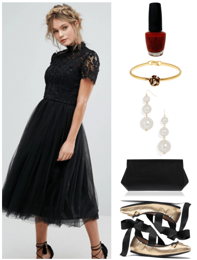 """How to Wear Tie-Up Ballet Flats"" Outfit #4 featuring black high-neck short-sleeved midi-length dress with lace top and tulle skirt, OPI Nail Lacquer in ""Thrill of Brazil,"" a classic true red; gold bangle bracelet with flower with faux pearl in the center, gold triple-pearl drop earrings, black reflective suedette clutch, metallic gold ballet flats with black bow with gold tips and Michael Kors logo charm, trim, and ribbon ties"