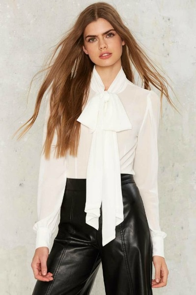 white tie blouse