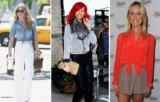 Annalynne McCord, Rihanna, and Kristin Cavallari wearing the knotted button-up shirt trend