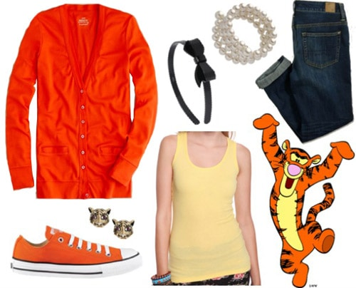 Outfit inspired by Tigger from Winnie the Pooh - Orange sweater, dark jeans, yellow tank, converse