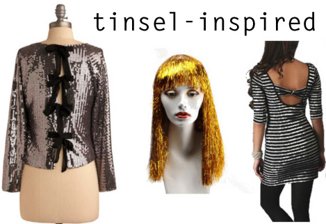 Tinsel-inspired fashion: sequined top, hair tinsel
