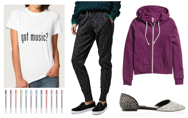 Fashion inspired by the musical Title of Show: Joggers, purple hoodie, dorsay flats, got music tee