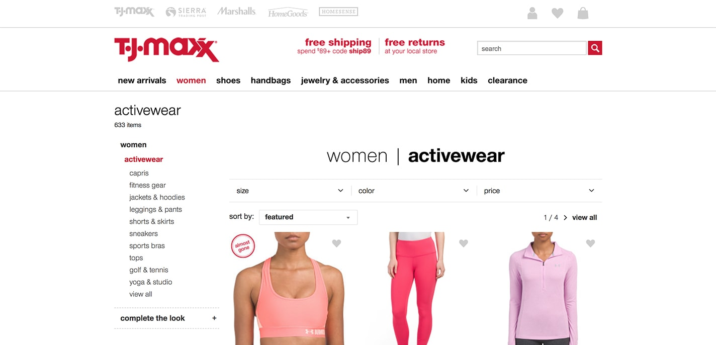 TJ Maxx activewear section