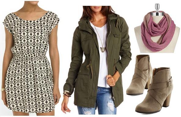 Tjmaxx dress, anorak, scarf, boots