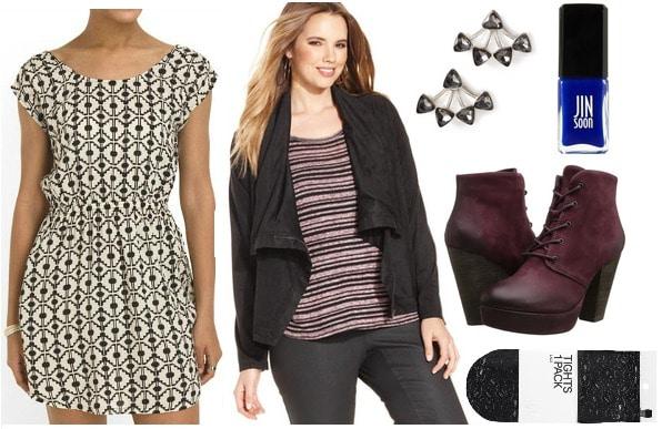 Tjmaxx dress, moto jacket, booties, lace tights