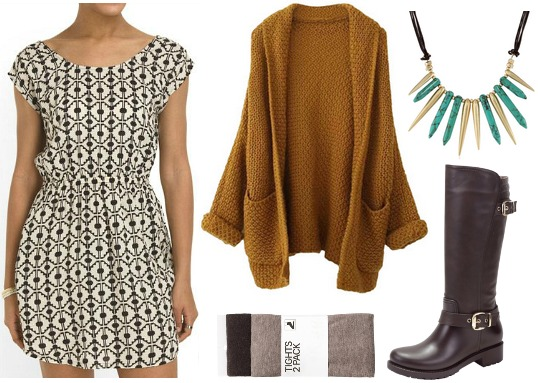 Tjmaxx dress, oversize cardigan, riding boots