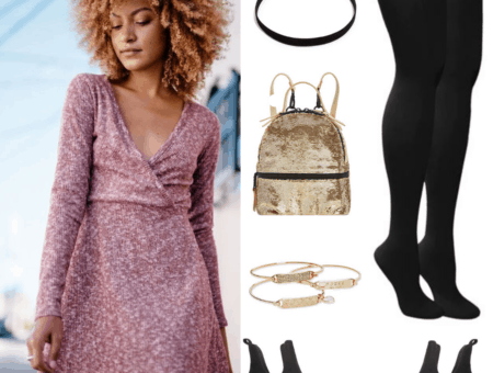 Get the Look: (Night at the Theater): Pink Knit Wrap Dress; Choker; Black Leggings; Gold Sequin Mini Backpack; Gold Stack Bracelets; Black Ankle Booties