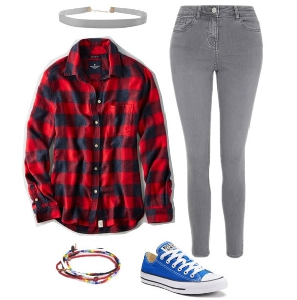 Red flannel, gray jeans, blue Converse, gray choker