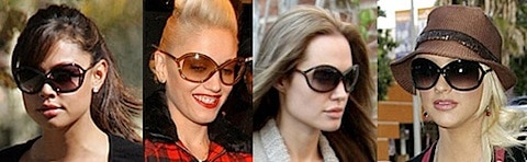 Vanessa Manillo, Gwen Stefani, Angelina Jolie, and Christina Aguilera in Tom Ford Whitney sunglasses