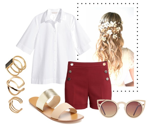 white button-up, red shorts, slide-on sandals