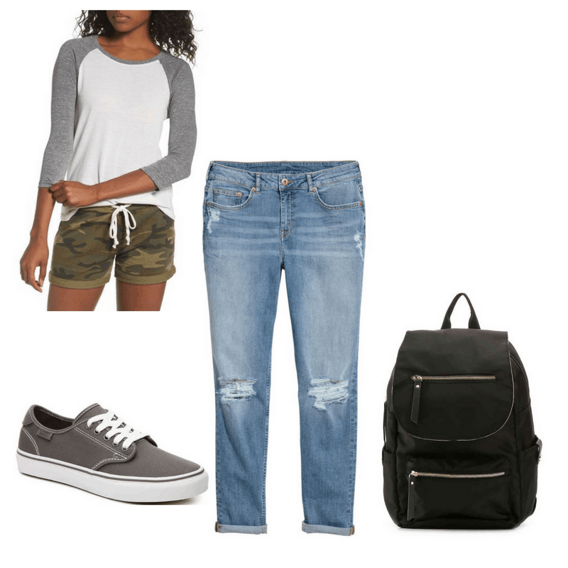 Tomboyish finals outfit with baseball tee, boyfriend jeans, Vans shoes, and black backpack