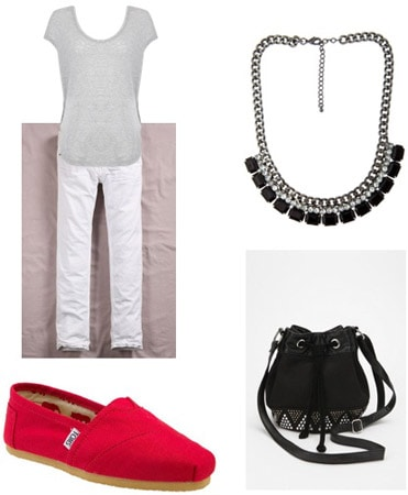 TOMS Shoes outfit - Red TOMS, white pants, gray top, and statement necklace