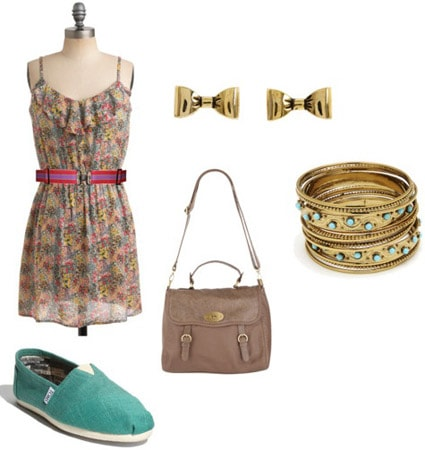 TOMS Shoes outfit - Green TOMS, floral dress and neutral accessories