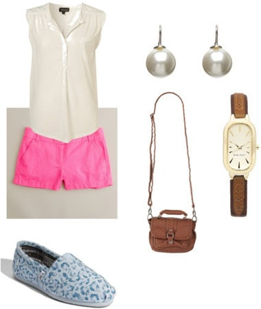 TOMS Shoes outfit - Blue patterned TOMS, hot pink shorts, blouse, cross-body bag
