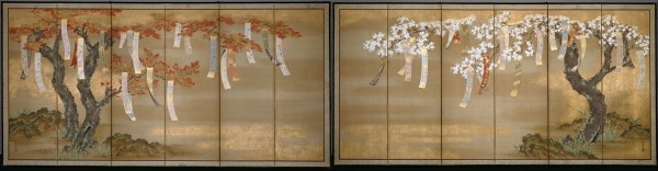 """Tosa Mitsuoki's """"Autumn Maples and Flowering Cherry with Poem slips"""" (c. 1650s) via Wikimedia Commons"""