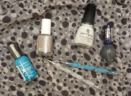 Totoro inspired nail art polishes