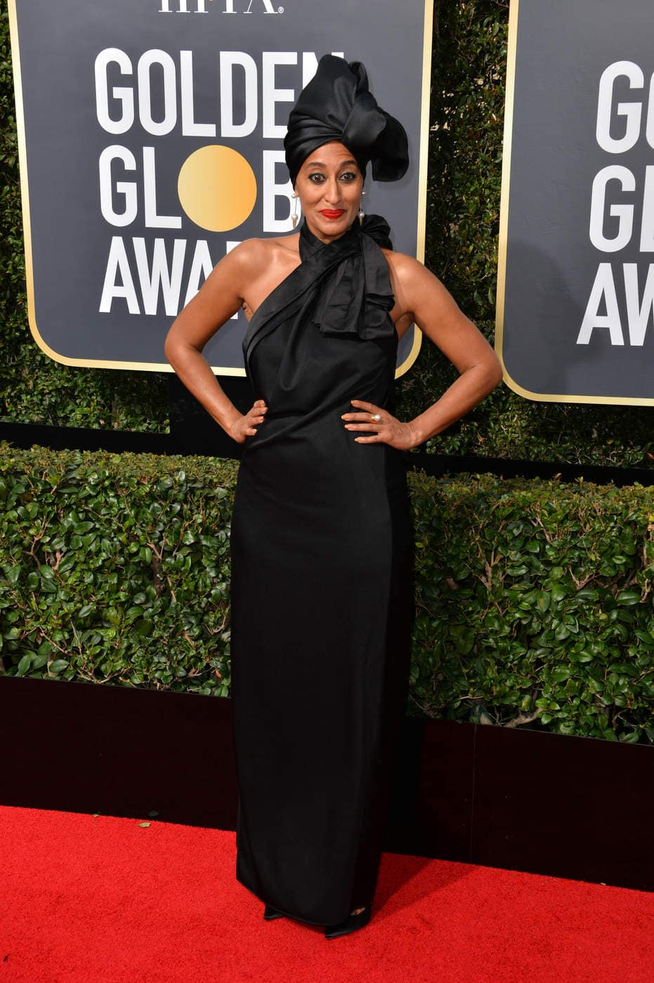 Tracee Ellis Ross in a black Marc Jacobs gown at the 2018 Golden Globe Awards red carpet