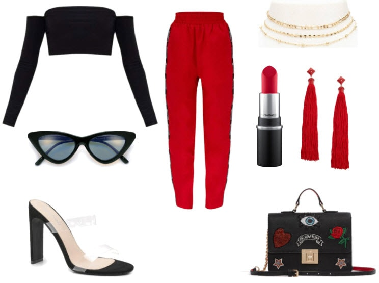 How to style track pants for a night out with black crop top, red lipstick, red earrings, black heels, black cat eye sunglasses, black purse, and gold choker necklace.