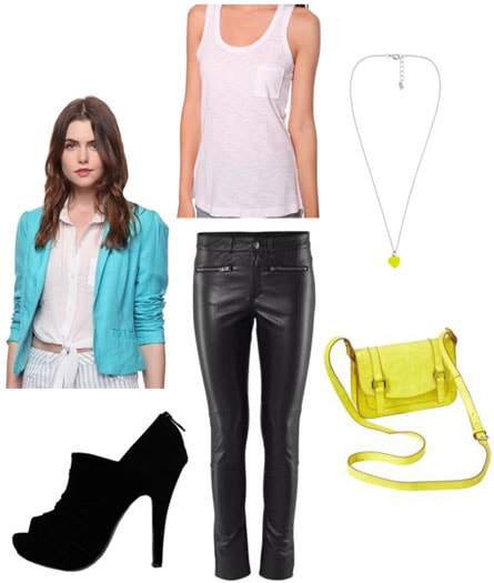 Transitional outfit under 0: Turquoise blazer, neon bag, leather pants, ankle booties, basic white tank, necklace