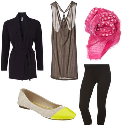Transitional outfit under 0: Black leggings, long cardigan, tunic tank, pink scarf, yellow flats