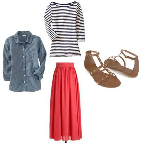 Transitional outfit under 0: Maxi skirt, striped shirt, chambray button-down, sandals